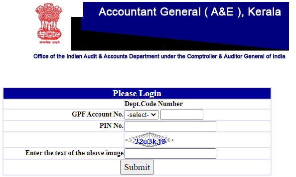 GPF Account Statement Kerala