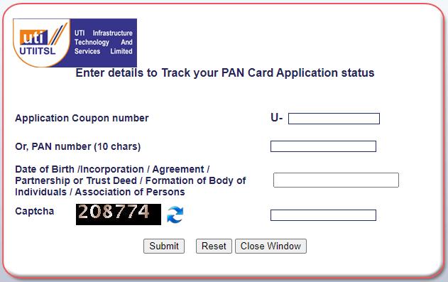 track pan card application status